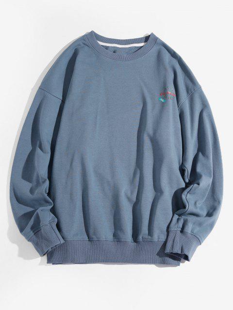Sweat-shirt Lettre Graphique à Goutte Epaule - Bleu 4XL Mobile