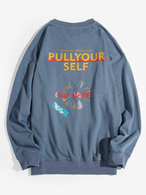 womens Our Planet Letter Graphic Drop Shoulder Sweatshirt - BLUE 4XL Mobile