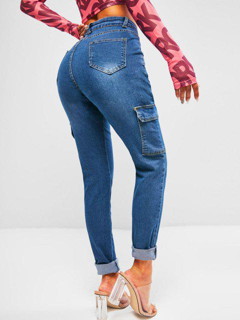 women's High Waisted Flap Pockets Skinny Cargo Jeans - DEEP BLUE M Mobile