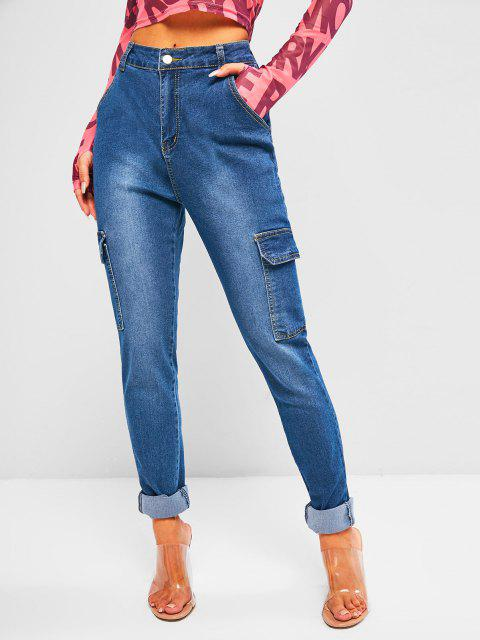 trendy High Waisted Flap Pockets Skinny Cargo Jeans - DEEP BLUE S Mobile