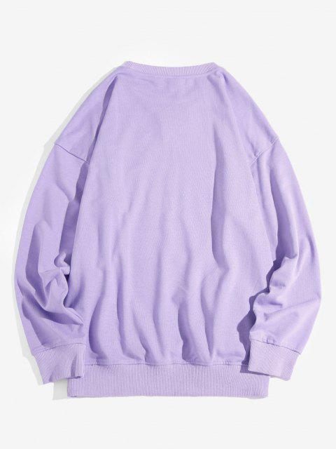 best Music Fest Headphone Graphic Drop Shoulder Sweatshirt - PURPLE XL Mobile