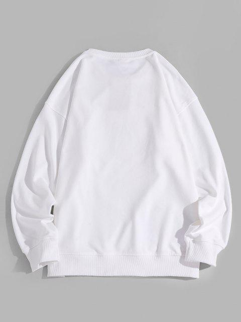 women's Letter Unicorn Pattern Drop Shoulder Sweatshirt - WHITE XL Mobile