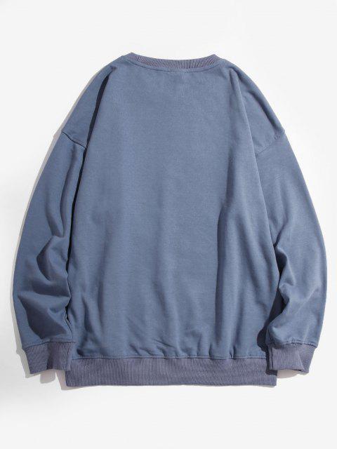 Sweat-shirt Goutte Epaule Motif de Licorne - Bleu 4XL Mobile