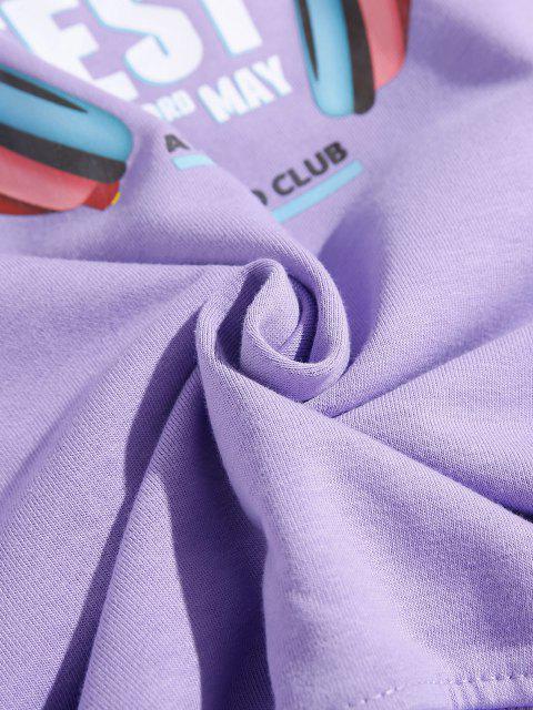 Sweat-shirt Graphique Note de Musique à Goutte Epaule - Pourpre  4XL Mobile