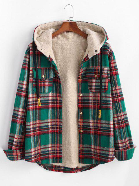 best Plaid Pattern Pocket Plush Hooded Shirt Jacket - DEEP GREEN S Mobile