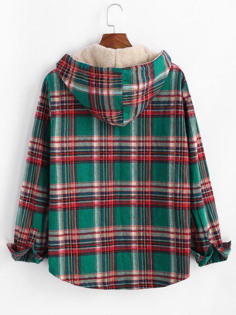 women Plaid Pattern Pocket Plush Hooded Shirt Jacket - DEEP GREEN XL Mobile
