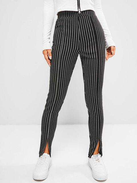 women's ZAFUL Pinstripe Slit Cuffs Skinny Pants - BLACK L Mobile