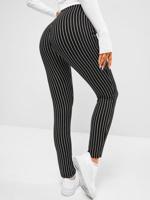 women's ZAFUL Pinstripe Slit Cuffs Skinny Pants - BLACK L Mobile