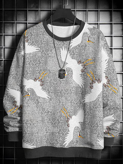 lady Flying Crane Vintage Tribal Floral Print Sweatshirt - LIGHT GRAY L Mobile