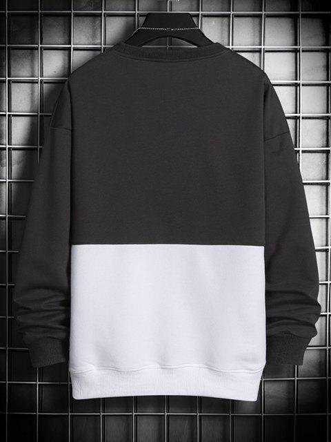 women's Slogan  Print Colorblock Panel Sweatshirt - BLACK XS Mobile