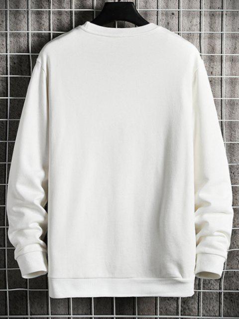 fashion Letter Crew Neck Sweatshirt - WHITE L Mobile