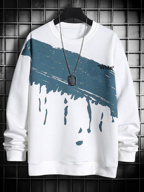best Paint Splatter White Print Crew Neck Sweatshirt - WHITE XS Mobile
