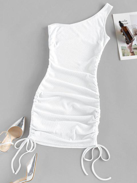 hot ZAFUL Ribbed Cinched One Shoulder Bodycon Dress - WHITE XL Mobile