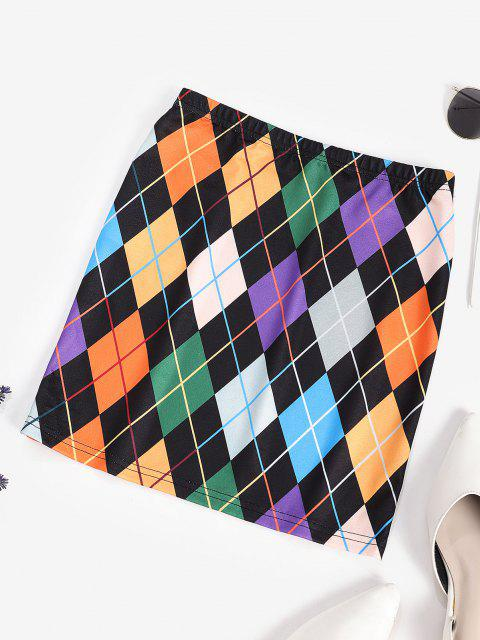 shops ZAFUL Colorful Argyle Print A Line Skirt - MULTI-A L Mobile