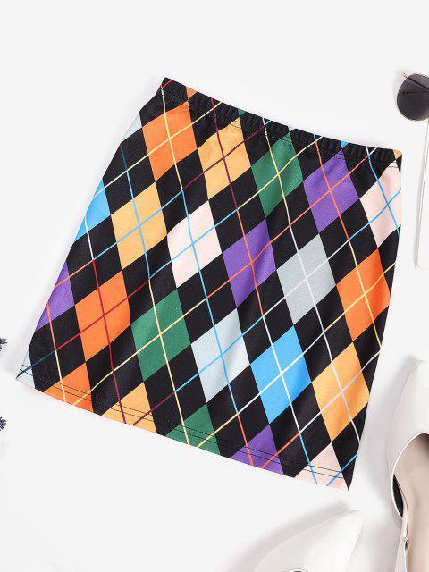 ZAFUL Colorful Argyle Print A Line Skirt - متعددة-A L Mobile