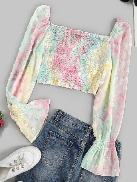 trendy Swiss Dot Smocked Cinched Poet Sleeve Blouse - MULTI S Mobile