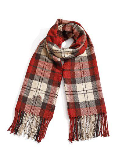 Plaid Tassel Faux Cashmere Long Scarf - Chestnut Red