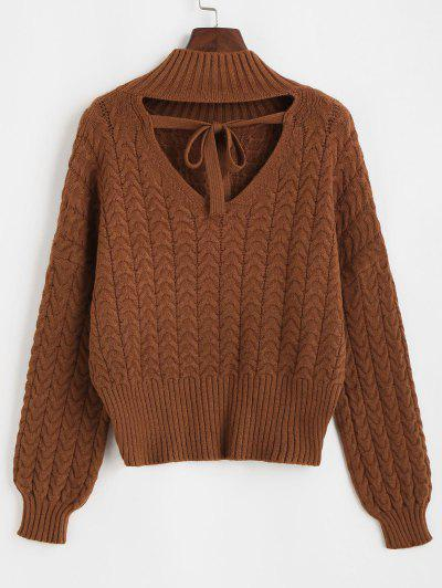 Tie Cut Out Back Cable Knit Sweater - Deep Coffee