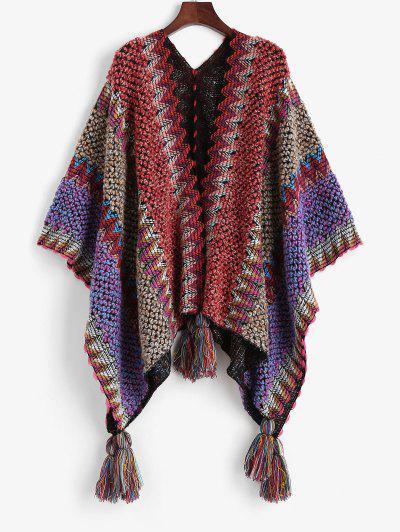 Intarsia Knit Tasseled Poncho Cardigan - Multi