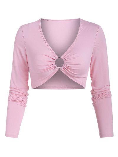 V Neck O-ring Cropped Tee - Light Pink L