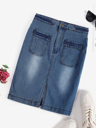 Front Slit Braided Trim Denim Bodycon Skirt - Blue S