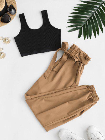 Ribbed Cropped Belted Paperbag Pants Set - Tiger Orange S