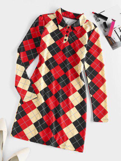 ZAFUL Argyle Button Placket Bodycon Dress - Multi M