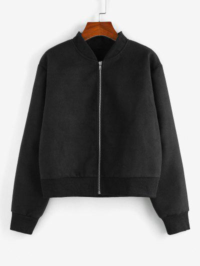 ZAFUL Zip Up Plain Ribbed Trim Jacket - Black S