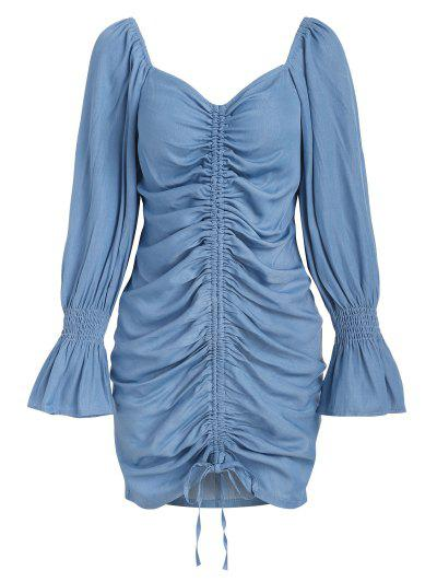 ZAFUL Poet Sleeve Cinched Front Chambray Mini Dress - Light Blue M