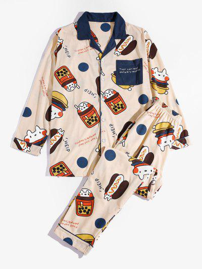 Slogan Cartoon Pattern Colorblock Pajama Set - Beige Xs