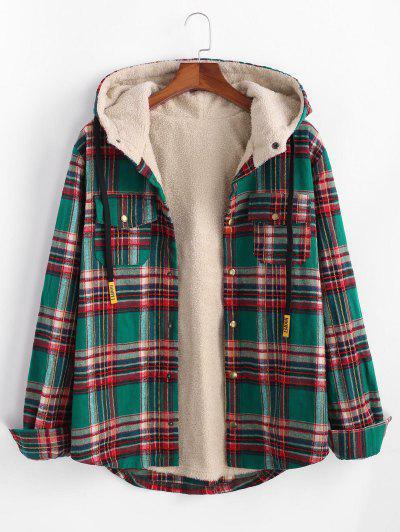 Plaid Pattern Pocket Plush Hooded Shirt Jacket - Deep Green L
