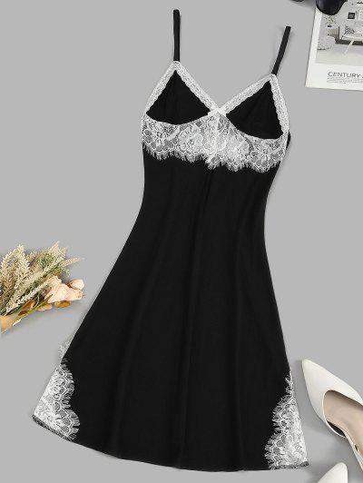 Bowknot Lace Insert Colorblock Night Dress - Black S