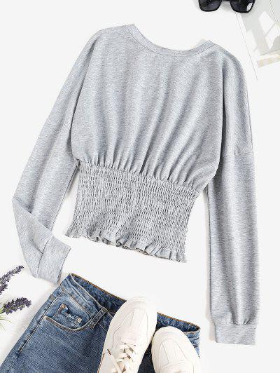 Drop Shoulder Smocked Hem Frilled Sweatshirt - Light Gray M