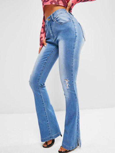 Mid Rise Distressed Flare Jeans - Blue L