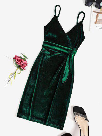 Belted Velvet Surplice Bodycon Dress - Deep Green Xl