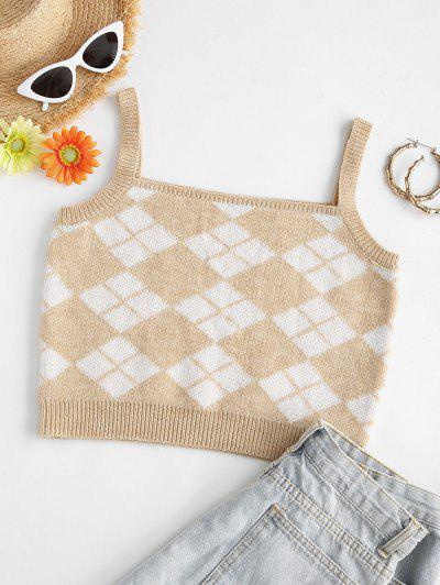 Argyle Square Neck Crop Sweater Vest - Light Coffee S