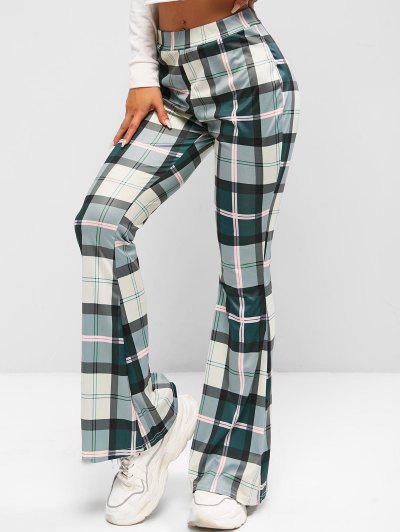 High Waisted Plaid Flare Pants - Hazel Green L