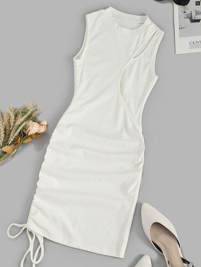 Robe Débardeur Sanglée Côtelée Découpée - Blanc L