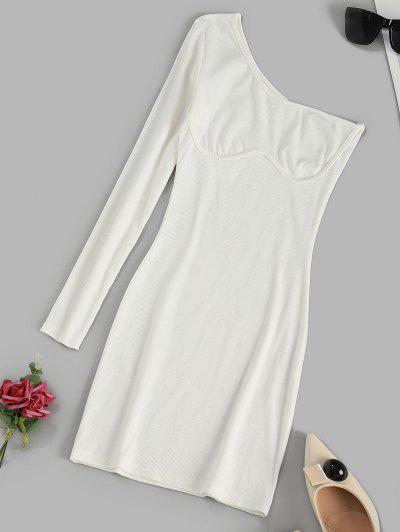 Geripptes Einziger Schulter Langarm Kleid - Weiß M