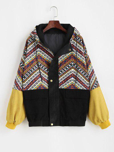 Grunge Style Hooded Colorblock Corduroy Jacket - Multi L