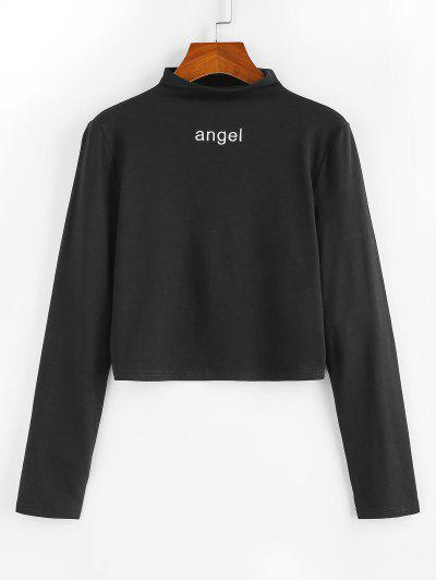 ZAFUL Angel Embroidered Crew Neck Long Sleeve Tee - Black M