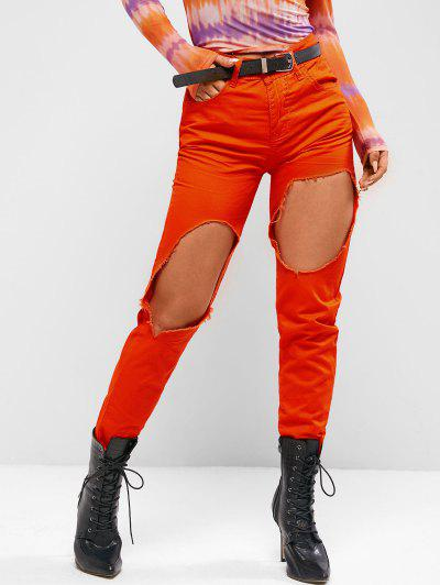 Destroyed Cut Out Colored Tapered Jeans - Bright Orange Xl