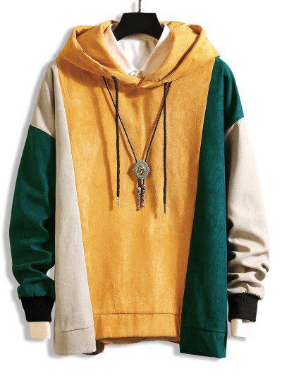 Color-blocking Asymmetrical Hem Drawstring Hoodie - Yellow 3xl