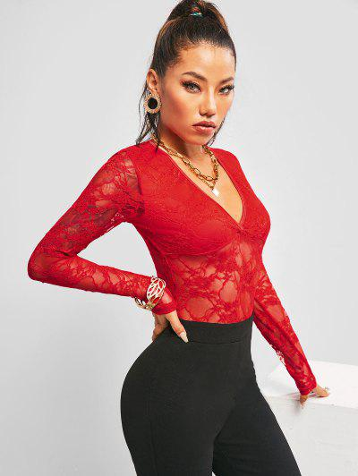 Long Sleeve Lace V Neck Bodysuit - Red M