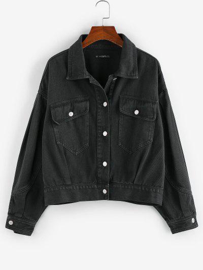 ZAFUL Flap Pockets Denim Jacket - Black Xl