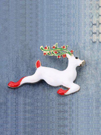 Broche En Forme D'Élan De Noël - Blanc