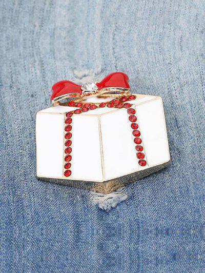 Broche De Noël En Forme De Cadeau Avec Strass - Blanc Chaud