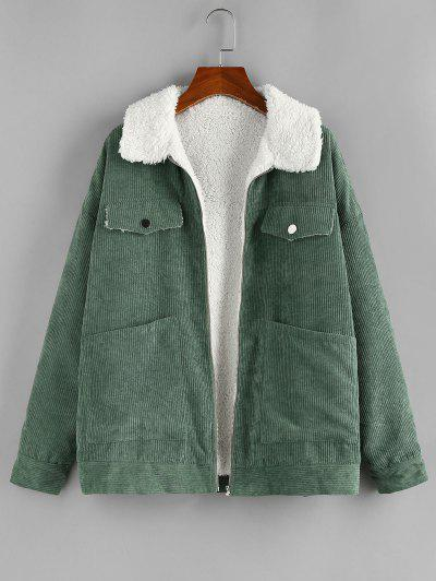 ZAFUL Corduroy Pocket Drop Shoulder Fleece Lined Jacket - Army Green S
