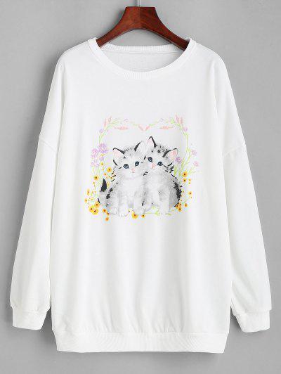 Sweat-shirt Lâche Imprimé Chat Et Fleur Graphique - Blanc M