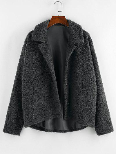 ZAFUL Drop Shoulder Button Up Long Teddy Jacket - Carbon Gray S